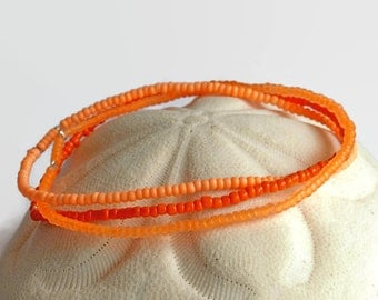 3 seed bead bracelets, stretch bracelets, neon, UV active, bracelet set, neon orange
