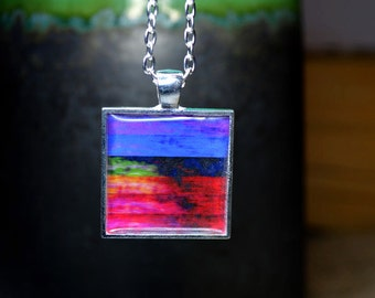 Rainbow Art Resin Pendant Necklace Abstract Art Jewelry Wearable Art Multicolored Modern Pendant Resin Jewelry Bold Necklace