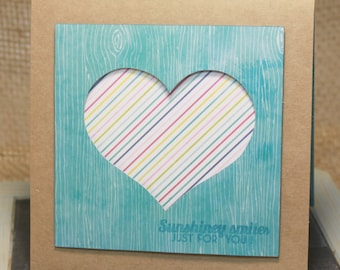 Sunshine Smiles Just for You CARD Heart, blue, stripes, papercraft, stamp, embossed just because, thinking of you
