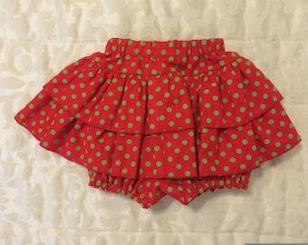 Christmas ruffled diaper cover