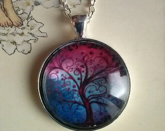 tree of life picture pendant necklace kawaii