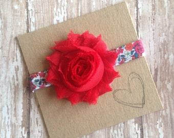 Flower Print Elastic Headband, Flower, Headband, Baby Headband, Newborn, Shabby Flower