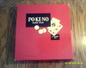 Vintage 1960s Po-Ke-No Playing Card Game, Poker Game Boards, Card Games, Pokeno Game, Vintage Games, Poker Games, Gambling Games