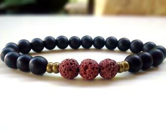 Mens Lava bracelet, Lava bracelet, Men bracelet, Protection bracelet, Lava bracelet for Men, Men Jewelry, Stretch bracelet, Men accesories