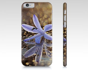 Gold and Purple Floral Bokeh Plastic Cell Phone Case iPhone Cover iPhone 6 & 6 Plus iPhone 5 and 4 Case, Blue Flower Samsung Galaxy S5 S4 S3