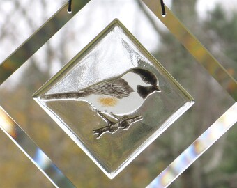 Chickadee Suncatcher, Engraved Chickadee Bevel Suncatcher,  Chickadee Window Hanging, Fused Glass Chickadee, Fused Glass Bird,  BV120