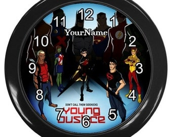 Personalized Young Justice Wall Clock Nursery Decor Girl or Boy Bed Room Cartoon