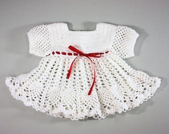 Vintage 70's White Crochet Dress / Red Ribbon Bow / Full Scalloped Skirt / 9-12 Month Baby Girl