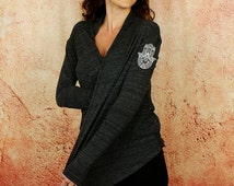 Hand of Fatima - Eco Black Cardigan Yoga Wrap Lightweight Woman's Top by Goddess Gear Designs