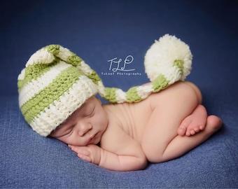 Baby Long Tailed Fern, Cream Stocking Hat - 0 to 3 Months, 3 to 6 Months, 6 to 12 Months - Fern Green, Cream -  Elfin Hat, Nightcap