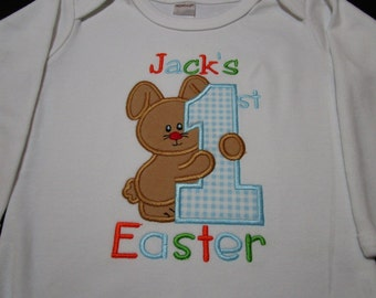 Baby Boy Easter Shirt-Boy Personalized Easter Shirt-Baby Boy First Easter Shirt-Boy Easter Bunny Shirt