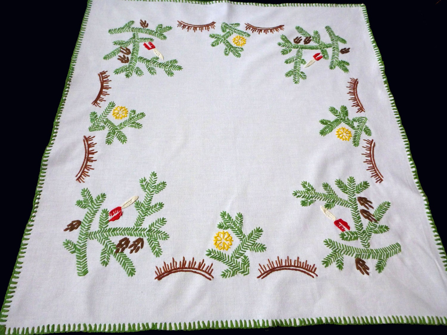 Christmas vintage off white tablecloth embroidery hand