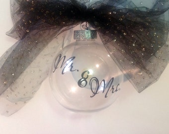 DIY Mr. and Mrs. Vinyl Decals Make Your Own Christmas Balls or Wedding Ornaments and Wine Glasses for your Winter Wedding