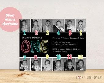 Timeline 1st Birthday Invitiation - Custom - Printable