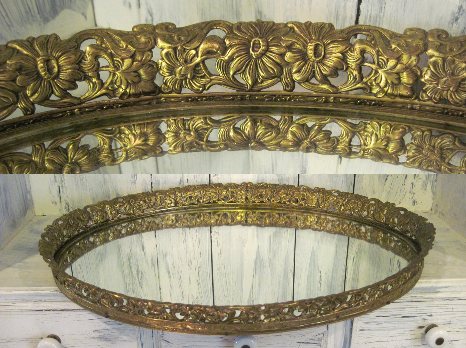 Large Round Gold Mirror: Vintage Rustic Golden Color Oval Large Vanity Mirror Tray