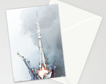 Rocket Card, space card, bespoke Greeting card, Birthday card, 'Rocket Fever', Personalised Card, Card for him, handmade art card,