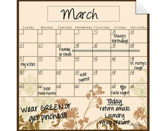 Peel and Stick, Peel and Stick Monthly Calendar, Peel and Stick Calendar