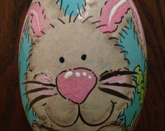 "3.25"" Brown or white bunny egg, easter egg, personalized wooden egg"