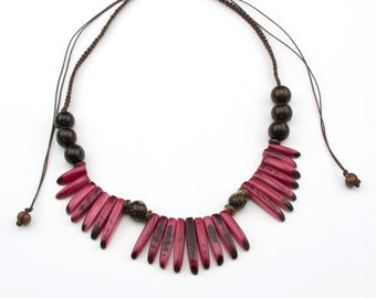 Adjustable Pink Tagua Necklaces.