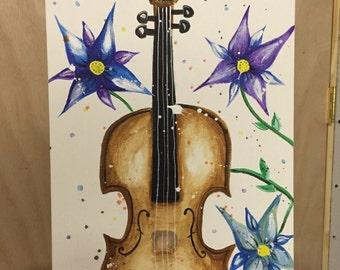 Flower violin original painting