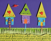 Home Sweet Home, Congratulations on Your New Nest greeting card with calligraphy detail