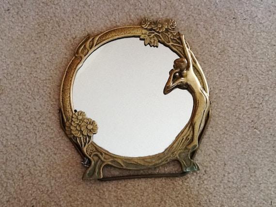 Vintage art nouveau brass mirror vanity mirror round brass for Miroir antique