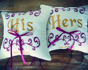 Ring bearer pillow, set of  2 pillows,His & Hers ring bearer pillows ,wedding ring pillow ,personalized embroidered ring bearer pillow (R95)
