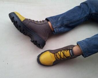 yellow brown shoes handmade Marapulai Sneakers US 10 men Hi top