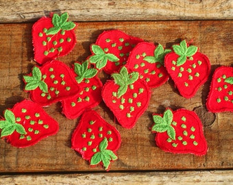 Vintage 60s Strawberry Sew-On Patch