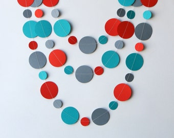 Teal  red and gray paper garland, Christmas garland, bridal shower, Birthday party decor, Paper garland, Baby shower decor, KC-1213