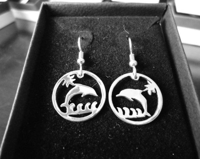 Dolfin earrings dime size w/sterling silver earwires