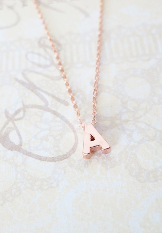 Personalized Rose Gold Letter Necklace, Rose Gold FILLED chain, monogram, friendship, initial necklace, bff gift, bridesmaids