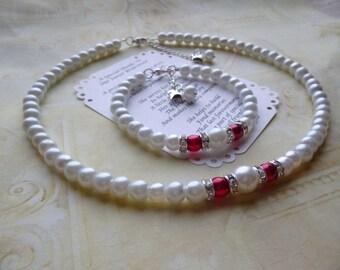 Pearl Flower Girl Necklace & Bracelet Set, Pearl Flower Girl Bracelet, Pearl Flower Girl Necklace, Bridesmaid Pearl Jewelry Set, Kids Gift