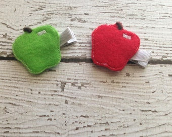 Apple Felt hair clip