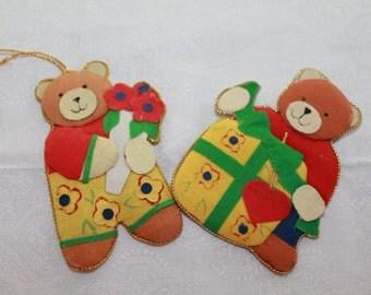 Vintage Christmas Paper and Cloth Teddie Bears, Christmas Tree  Hanging Ornament