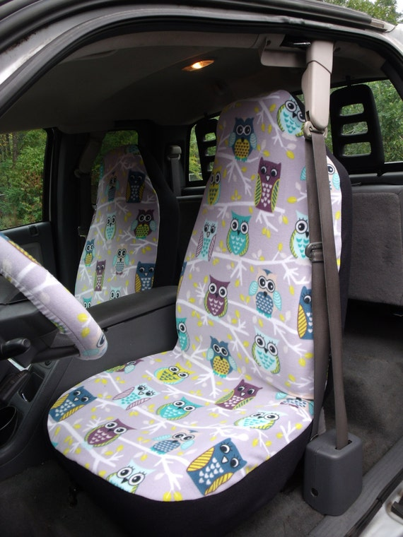 1 Set Of Owls Print Seat Cover And Steering Wheel Cover