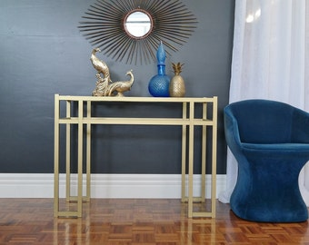 1970s vintage GEOMETRIC sofa table HALL TABLE sideboard : hollywood regency luxe matt gold