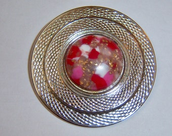 Vintage Scarf Clip. Silver Tone With Flecked Center Cab.