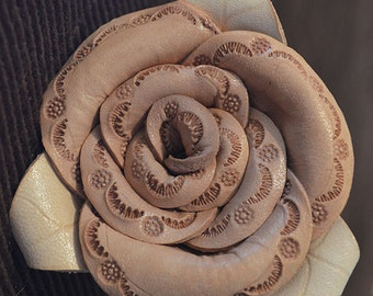 Handmade Leather Tooled Rose