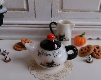 Halloween Witches Brew Porcelain Dollhouse Miniature Teapot