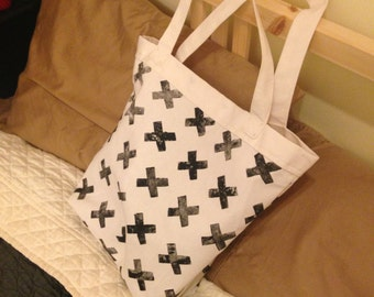 Large Canvas Tote Bag: White with Black X's