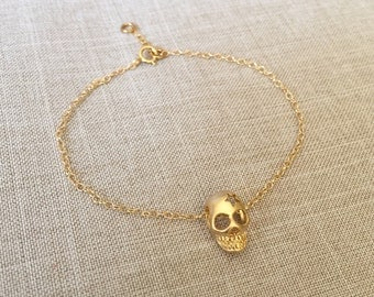 Cutie Skull bracelet,14k gold filled, cute and dainty