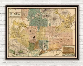 Old Map of Barcelona, Spain Vintage map Barcelona