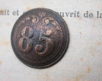 85 infantry  regiment numbered antique button Napoleon war 1812  French antique metal button military suit button army button France Paris