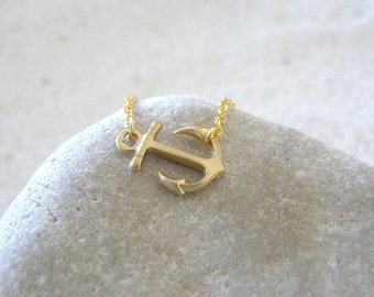 Gold Anchor Necklace, Nautical Charm, Sailor, Nautical Jewelry, Simple, Modern, Minimalist, Gift for Her