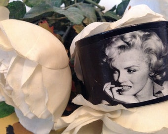 Retro Vinyl Record Cuff Bracelet -  Black and  White Picture of Marilyn Monroe Jewelery Handmade