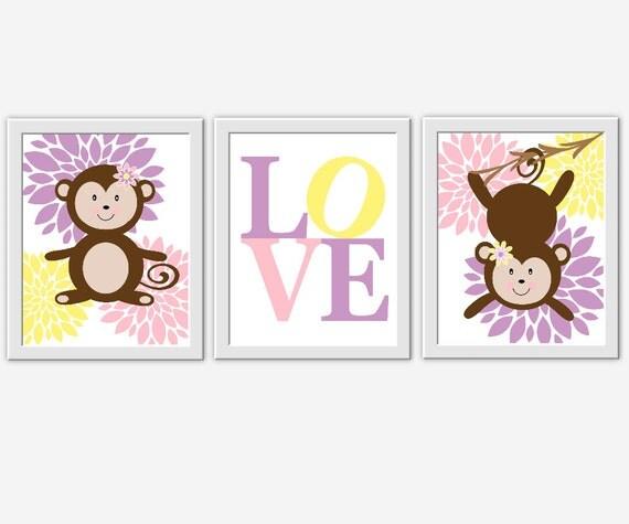Girl Monkey Nursery Wall Decor : Monkey baby girl nursery wall art pink purple yellow