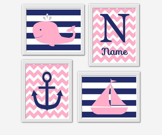 Baby Nash S Vintage Nautical Nursery: NAUTICAL Baby Girl Nursery Wall Art Pink Navy Blue