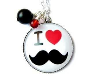 Mustache necklace & Natural beads