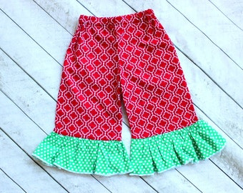 Christmas Ruffle pants Girls red quatrefoil with green polka dot christmas ruffle pants for toddler girl baby girl Christmas outfit